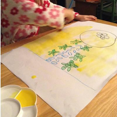 Wax pastel drawing
