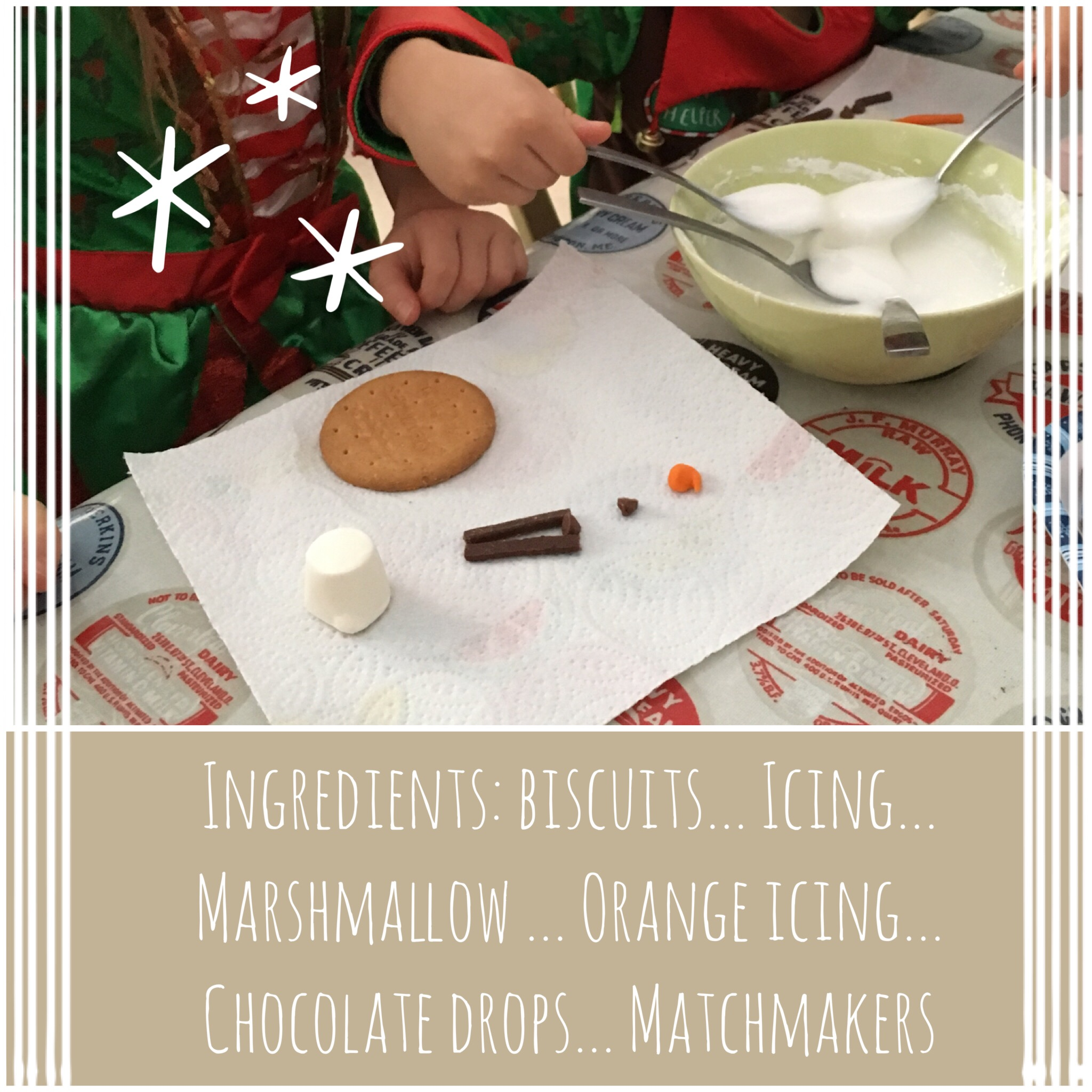 Melted snowman biscuit ingredients