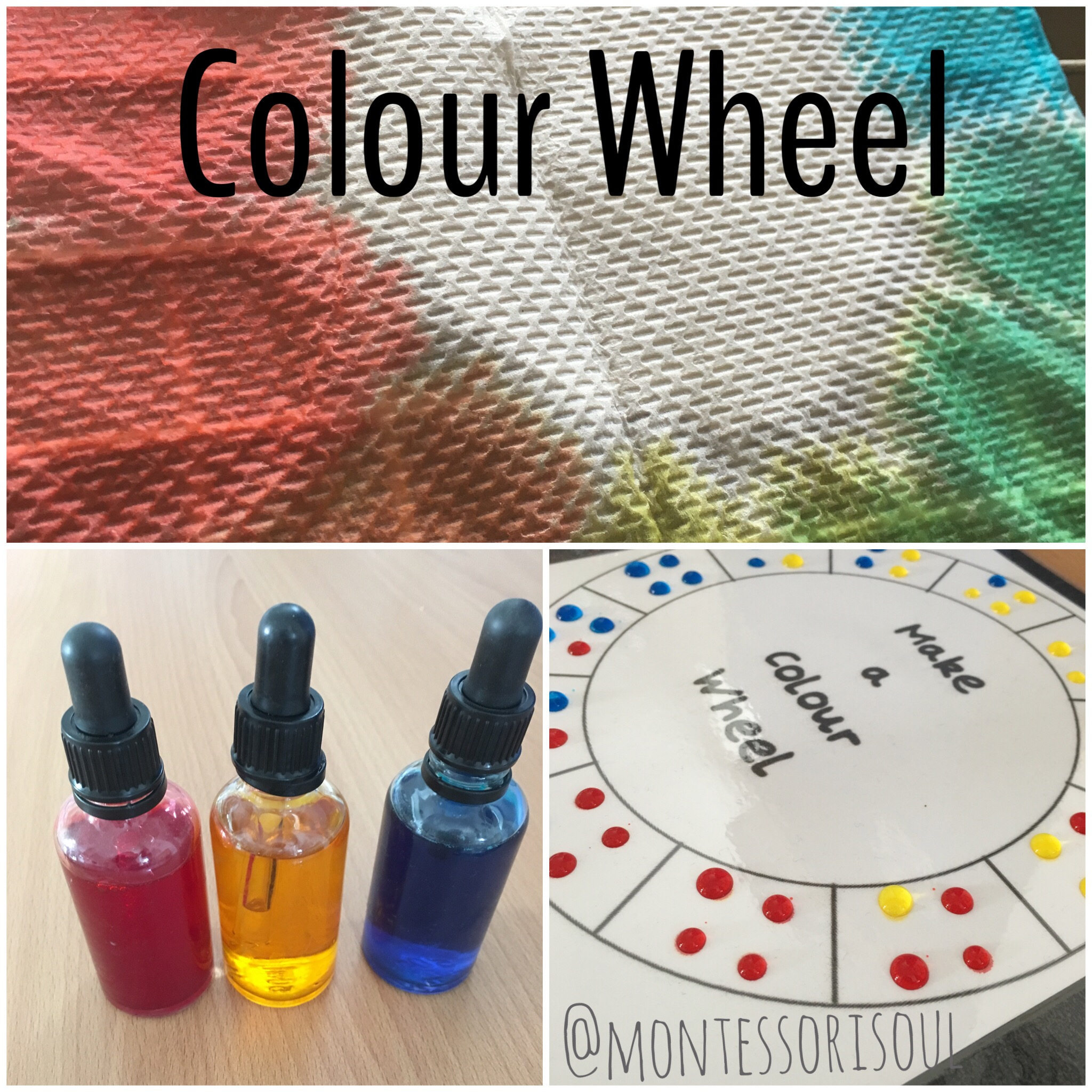 Water colour wheel using coloured water