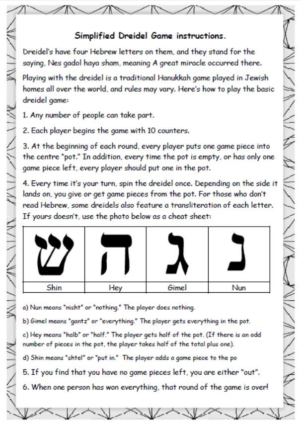 This is a picture of Epic How to Play the Dreidel Game Printable